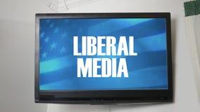 Una TV que exhibe el mensaje sobre medios liberales stock de ilustración