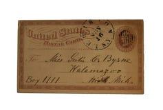Una una postal impresa de los E.E.U.U. del centavo fijada en Lewiston, NY y tratada a Kalamzoo, Michigan Imagenes de archivo