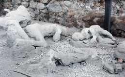 Una víctima en Pompeya de la erupción de Mt Vesuvio Imagen de archivo libre de regalías