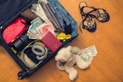Una valigia con l'orsacchiotto di cose e un passaporto straniero Fatture asiatiche del cento-dollaro e dei soldi per il viaggio C fotografia stock