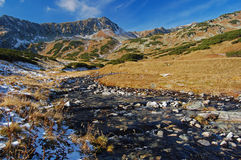 una valle dei 5 laghi, alte montagne di Tatra Immagini Stock