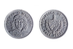 Una valuta cubana di tre pesi Immagini Stock