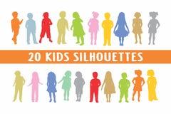 Una varia progettazione di 20 dei bambini siluette dei bambini royalty illustrazione gratis