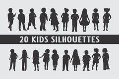 Una varia progettazione di 20 dei bambini siluette dei bambini illustrazione di stock