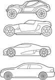 Una variedad de coches rápidos stock de ilustración