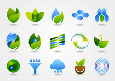 Una variedad de iconos eco-energía-relacionados Fotografía de archivo libre de regalías