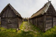 Una vecchia casa di Viking, una piccola capanna di legno Fotografia Stock
