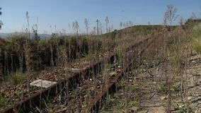 Una vecchia ferrovia abbandonata stock footage
