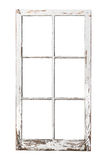 Una vecchia finestra delle 6 lastre di vetro su bianco fotografia stock