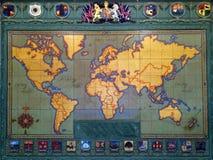 Una vecchia mappa del mondo nel museo di Auckland fotografia stock libera da diritti