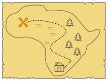 Una vecchia mappa dell'isola, indicante l'itinerario Illustrazione di vettore Fotografia Stock Libera da Diritti