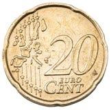 Una vecchia moneta da 20 centesimi Fotografia Stock Libera da Diritti