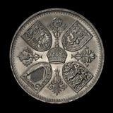 Una vecchia moneta dai cinque scellini Fotografia Stock
