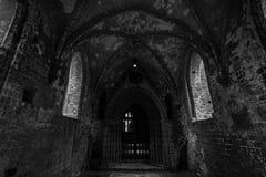 Una vecchia, parte non restaurata dell'abbazia di Chorin Fotografia Stock