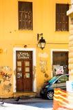 Una vecchia porta di vecchia casa in Rethymno Fotografia Stock Libera da Diritti