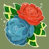 Una vecchia scuola di due rose disegnata Fotografia Stock