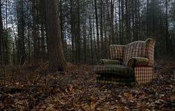 Una vecchia sedia scartata è scarico illegaly in mezzo ad un terreno boscoso Fotografia Stock