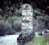 Una vecchia torre della difesa in Swanetien, Caucaso fotografia stock