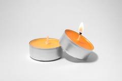 Una vela ardiente Foto de archivo libre de regalías