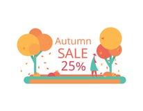 Una vendita di autunno di 25 Progettazione piana di vettore Sconti dell'aletta di filatoio o dell'etichetta Fotografie Stock