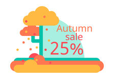 Una vendita di autunno di 25 Progettazione piana di vettore Sconti dell'aletta di filatoio o dell'etichetta Immagini Stock