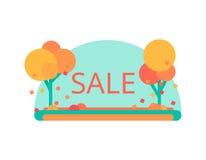 Una vendita di autunno di 25 Progettazione piana di vettore Sconti dell'aletta di filatoio o dell'etichetta Immagine Stock