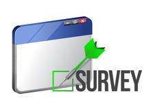 Una ventana del web browser muestra la encuesta sobre la palabra Fotografía de archivo libre de regalías
