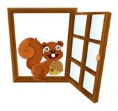 Una ventana y una ardilla Fotografía de archivo libre de regalías
