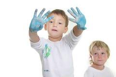 Una verniciatura dei due bambini Fotografia Stock
