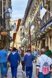 una via di 31 de Agosto in San Sebastian Old Town Gipuzkoa Immagine Stock Libera da Diritti