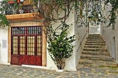 Una via di vecchia città di Ibiza, Balearic Island fotografia stock libera da diritti