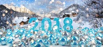 una vigilia di 2018 nuovi anni con la rappresentazione delle bagattelle 3D di natale Immagine Stock