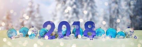 una vigilia di 2018 nuovi anni con le bagattelle di natale e le candele di renderin di 3D Fotografie Stock Libere da Diritti