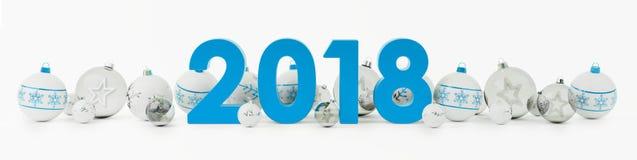 una vigilia di 2018 nuovi anni con le bagattelle di natale ha allineato la rappresentazione 3D Fotografia Stock Libera da Diritti