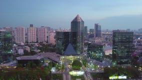 Una visión aérea desde un abejón de la plaza del parque de SCB metrajes
