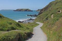 Una visión abajo de la trayectoria a las arenas de Marloes, Pembrokeshire Imágenes de archivo libres de regalías