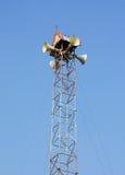 Una visión con un megáfono en fondo del cielo azul Fotografía de archivo