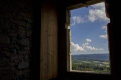 Una visión desde el castillo de Hrad Kasperk Fotos de archivo libres de regalías
