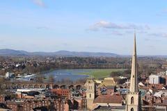 Una visión desde la catedral de Worcester imagen de archivo
