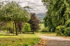 Una visión en un parque con un obelisco foto de archivo