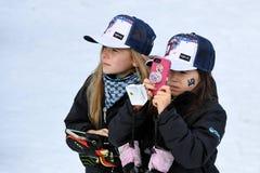 Una visión general durante el eslalom gigante de Audi FIS el Ski World Cup Women alpino fotografía de archivo