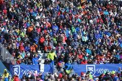 Una visión general durante el eslalom gigante de Audi FIS el Ski World Cup Women alpino imagen de archivo