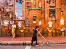 Una visión típica en la ciudad vieja en Cartagena Colombia fotos de archivo libres de regalías