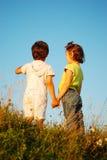 Una visione romantica di due bambini Fotografie Stock Libere da Diritti