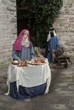 Una visita alla bella città medievale di Umbria Region, durante le feste di Natale, con la scena di natività delle statue a grand Fotografie Stock Libere da Diritti