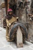 Una visita alla bella città medievale di Umbria Region, durante le feste di Natale, con la scena di natività delle statue a grand Fotografie Stock