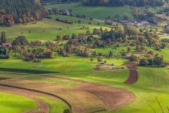 Una vista aérea del campo verde alemán Imagenes de archivo