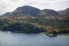 Una vista aerea della montagna alta di Cadillac di 1530 piedi, acadia parco nazionale, Maine Immagine Stock