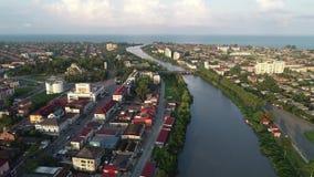 Una vista aerea di una della città Poti, Georgia della costa di Mar Nero archivi video