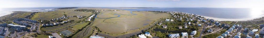 una vista aerea di 360 gradi oceanfro dell'isola del porto, Carolina del Sud Immagini Stock Libere da Diritti